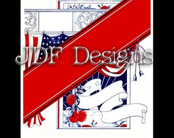 Instant Digital Download, Vintage Edwardian Graphic, Patriotic Page Layout, Banner, Printable Image, Scrapbook, Americana American Flag