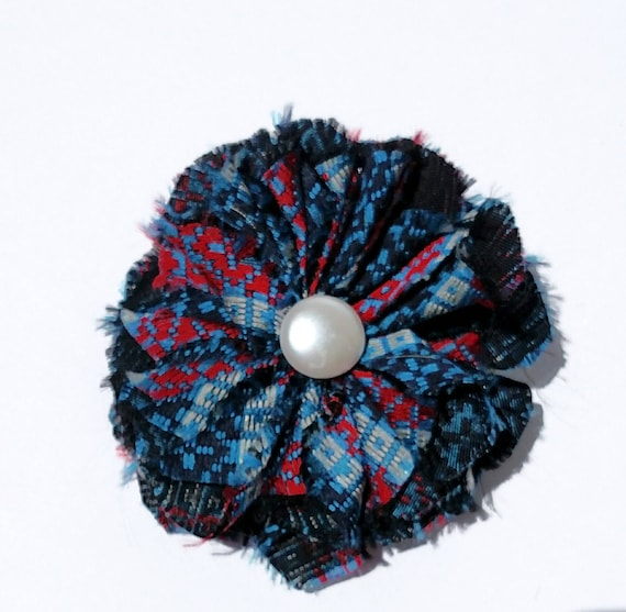 Recycled Vintage Necktie Fabric Flower Clip Pin - Blue and Red