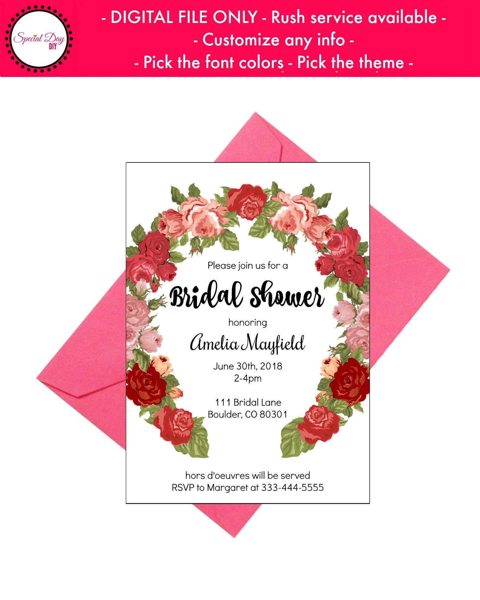Floral Bridal Shower Invitation Rustic Bridal Shower