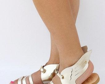 Women Hermes Sandals in gold color, handmade Greek Sandals, leather straps sandals, Hermes, Hermes Design