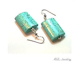 Turquoise Earrings, Silver and Turquoise Earrings, Plus Size Earrings, Big Earrings - E2016-06