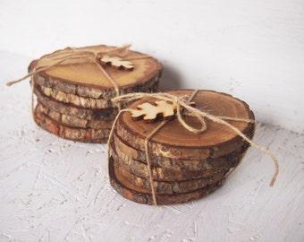 6 Wooden Oak Coasters, Handmade Coasters, Set of 6 Coasters, Rustic Coasters, Natural Eco Coasters, Drink Coasters, Table Decoration