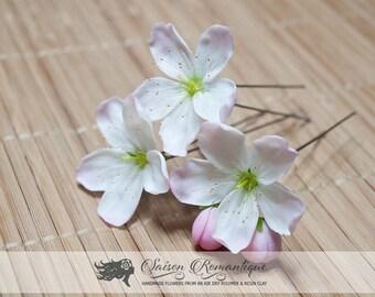Set 3 Hair pin Apple Blossom - Hair pin sacura - Polymer Clay Flowers - Wedding Accessories