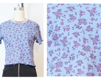 Blue Pink Ditsy Floral Cinderella 90s Inspired Thermal Crop Top Handmade deadstock vintage fabric