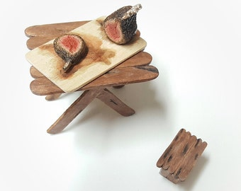 Polymer clay miniature food realistic dollhouse roasted lamb fake dollhouse food rack of lamb Realistic miniature food on cutting board