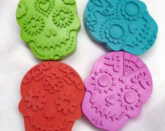 UPDATED-Day of the Dead Bright, Florescent Sugar Skull Cookie Cutters in Molded Plastic