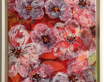 Floral abstract oil paintings-3d effect-pink flowers-contemporary art-incl. white baklijst-46 x 65 cm-Worldwide shipping