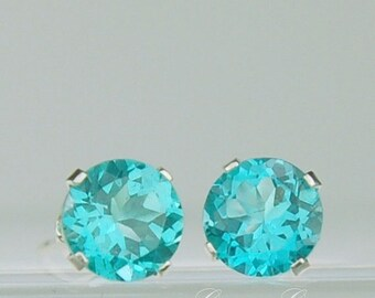 Apatite Stud Earrings Sterling Silver 6mm Round 1.80ctw