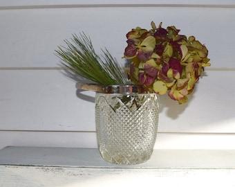 Vintage Glass Ice Bucket Crystal Cut Glass Jar with Handle
