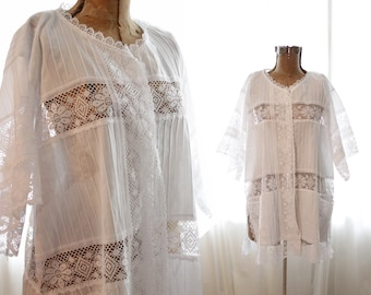 Vintage 1980s white cotton crochet lace pintuck blouse tunic dress beach cover-up bohemian folk Mexican style