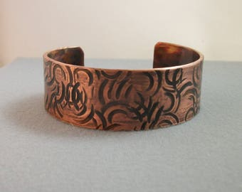 Hammered Copper Cuff Bracelet - copper jewelry - antiqued copper bracelet - rustic cuff bracelet- LARGE