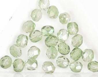 6mm LIGHT PERIDOT GREEN Round Fire Polished Czech Glass x25 Beads bgl0226