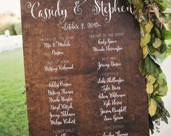 Custom Wedding Program Sign Wedding calligraphy Program Board Wood Board Wood Wedding Signs Wedding Signage Custom Signs Wedding Party Board