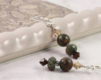 Green Opal Earrings, Brown and Green, Woodland Jewelry, Winter Fashion, Forest Green, Gemstone Earrings, Sterling Silver