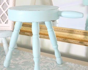 MID CENTURY, Hand Painted Three Leg Wood Stool with Handle by Vermont Wood Specialties, Step Stool, Rustic, Beach Decor