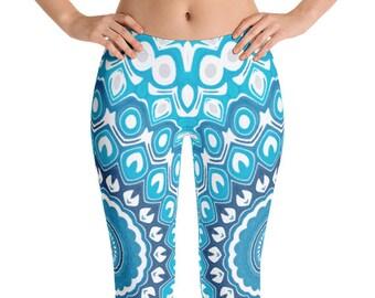 Beach Leggings Yoga Pants, Printed Yoga Tights for Women, Ocean Blue and Gray Mandala Art