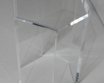 """clear acrylic end table hexagon 15"""" x 13"""" x 19"""" high"""