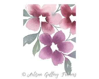 Abstract Watercolor Florals - Maroon - With or Without Frame