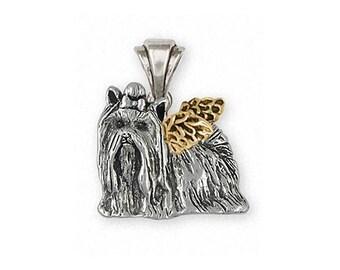 Yorkie Angel Pendant Jewelry Silver And 14k Gold Handmade Yorkshire Terrier Pendant YK292X-TNAP