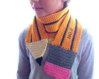 CUSTOM PENCIL SCARF Kids / Children's / Adult Knit hand made crochet