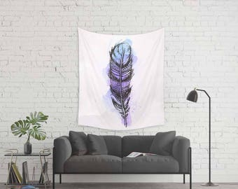Feather tapestry, Wall hanging home decor, Purple tapestry, Watercolor tapestry, Boho tapestry, Wall art, Watercolor tapestries, Wap089