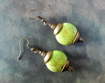 Mint Green and Brass Boho Earrings (4176)