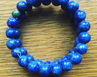 Lapis and Unakite Gemstone Memory wire bracelet