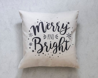 Christmas Pillow Cover, merry and Bright, Pillow Covers, Throw Pillow, Christmas Throw Pillow, Decorative Pillow Cover