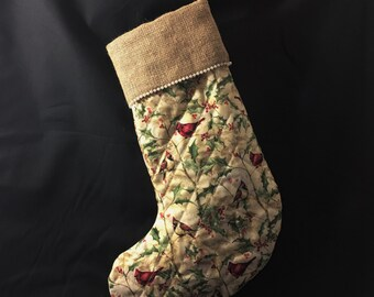 Christmas Stocking, Birds Christmas Stocking, Cardinals Christmas Stocking, Burlap and Pearls Christmas Stocking, Shabby Chic Christmas