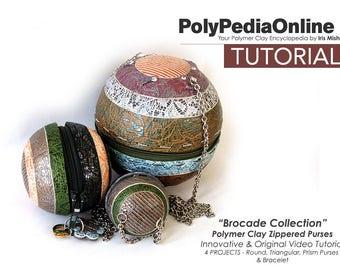 Polymer Clay Tutorial, DIY Beads, Polymer Clay Jewelry, DIY Kit, PDF, Video Tutorial, Purse Tutorial, Bag, Fimo Tutorial, Step by Step