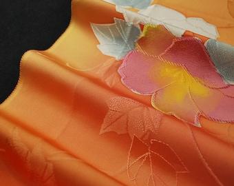 "14.5""w. x 28.3""l. Vintage kimono silk fabric flower 2390E"