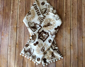 Coffee Inspired Scarf with Poms - Fleece
