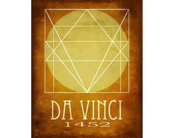 Leonardo Da Vinci Art Print 8x10 - Steampunk Rock Star Scientist Inventor, Minimalist Vitruvian Man, Invention Illustration, Italian Artist