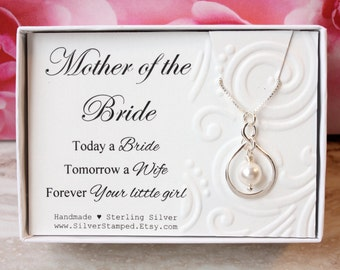Gift for mother of the bride from Bride, Sterling silver infinity necklace with Swarovski pearl, gift for mom, bridal jewelry, today a bride