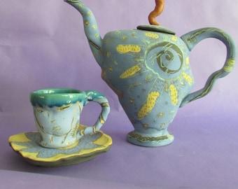 Whimsical Teapot, Teacup and Saucer