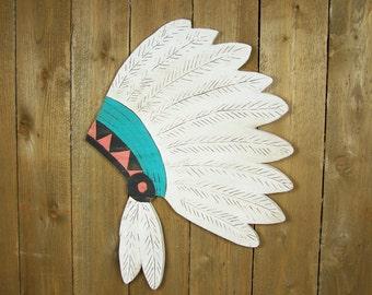 Tribal Wall Decor Native American Art White Feather Headdress Tribal Wall Art Wooden Wall Art Wood Feather Wall Art Headdress Wall Art
