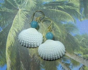 Seashell Earrings - Aquamarine Mermaid Seashell Earrings