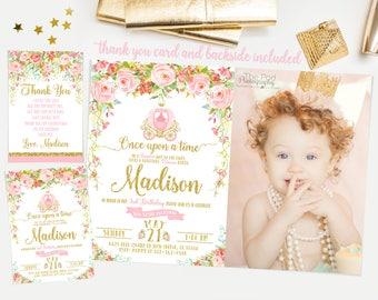 Princess invitation, Pink and gold first birthday invitation, princess carriage invitation, first birthday invitation girl No. 001