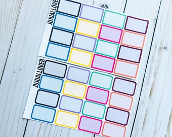 16 COLOR Half Boxes Planner Stickers l Functional Stickers l Multicolor Stickers l Multicolor Functional l Summer Colors l