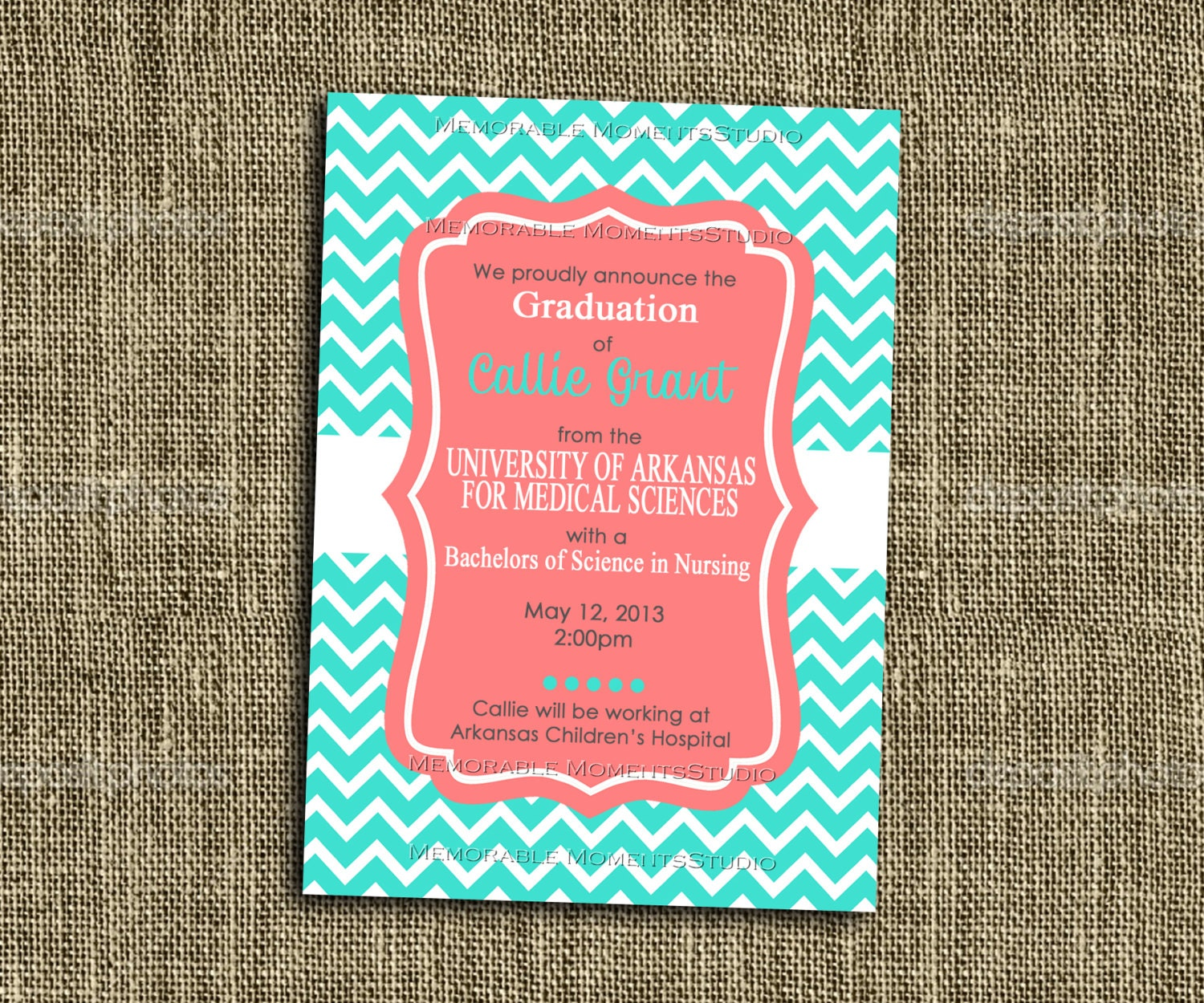 PRINTABLE INVITATIONS Turquoise and Coral Chevron Party