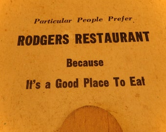Paper Advertising Fan - Rodgers Restaurant - Vintage Advertising Promotional Item