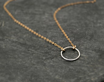 choate / petite... mixed metal eternity circle necklace / sterling silver circle & 14k gold filled chain necklace / infinity / love / karma