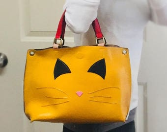 Upcycled Repurposed Free People handbag cat ears and whiskers design