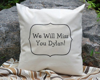 Personalized pillow, autograph pillow,  Moving gift, relocation gift, going away gift, Autograph Going Away  Guest Sign in pillow