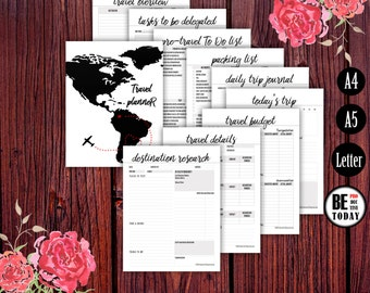 Travel Journal Printable Bundle, Trip, Travel Planner, Vacation Planner A5, A4, Letter, Packing List, Travel Checklist, Itinerary, PRINTABLE
