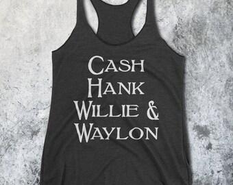 Cash Hank Willie & Waylon Tank - Johnny Cash - Hank Williams - Waylon Jennings - Man in Black Shirt - Country Music Shirt - rock shirts