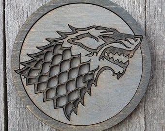 Stark Game of Thrones Wood Coaster   Rustic/Vintage   Hand Stained and Glued   Stark   Arya   Jon   Robb   Ned   Sansa