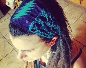 Grateful dead crochet lightening bolt headband