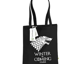 """Game of Thrones Tote Bag """"Winter is Coming"""", Organic Cotton Canvas Bag for Life, Direwolf Shopping Bag, House of Stark, 1037"""
