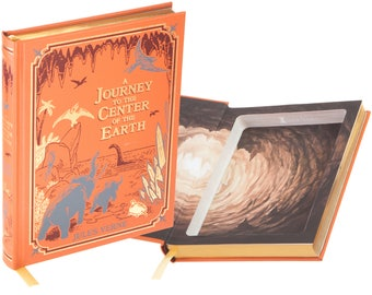 Hollow Book Safe - A Journey to the Center of the Earth by Jules Verne (Leather-bound) (Magnetic Closure)